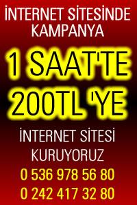 UCUZ WEB SİTESİ KAMPANYASI 200 TLYE 1SAATTE İNTERNET SİTESİ KURULUYOR